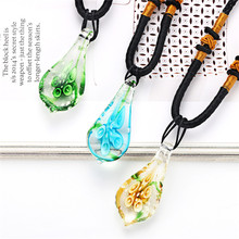 Water Droplet Pendent Necklace Fashion Jewelry Gifts Teardrop Pendents Charms Murano Class