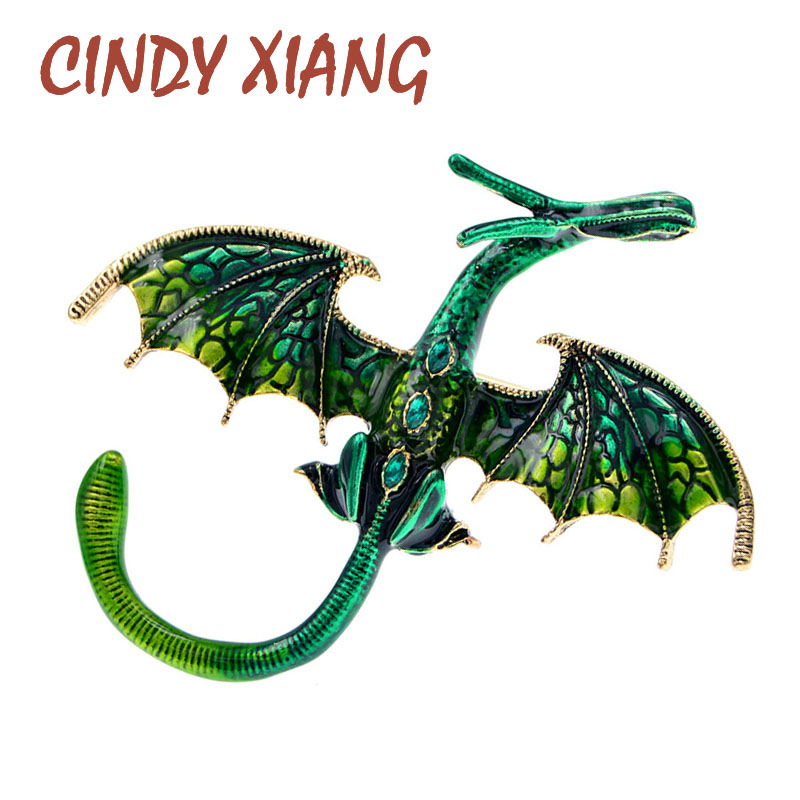 CINDY XIANG New Arrival Enamel Dragon Brooch Unisex Women And Men Pin Animal Large Brooches 5 Colors Available Gift 1