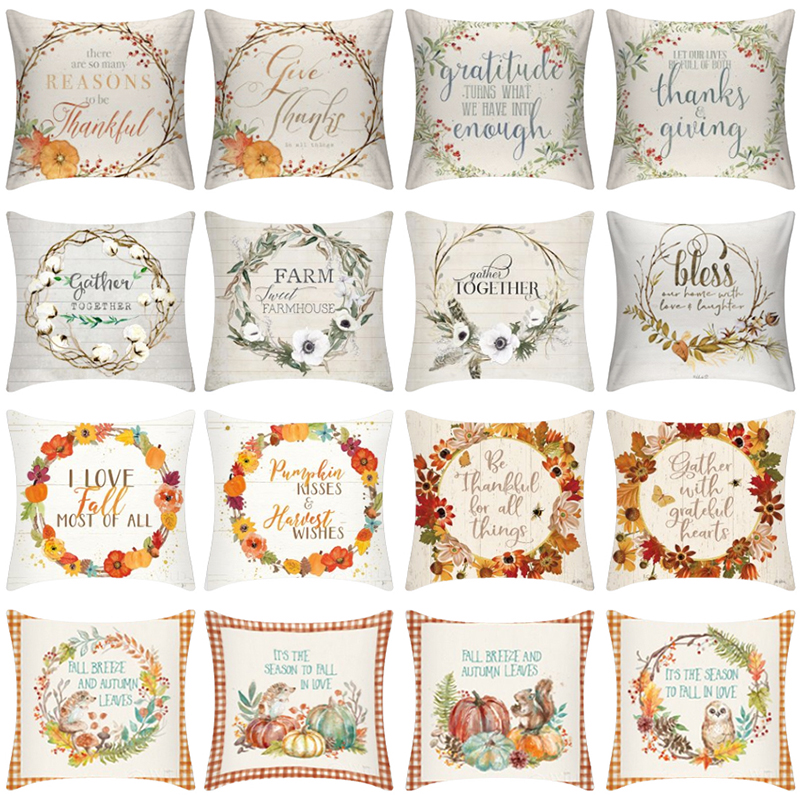 Halloween Thanksgiving Pumpkin Cushion Cover Polyester Farmhouse Decor Pillow Case Home Sofa Car Kussenhoes Cojines