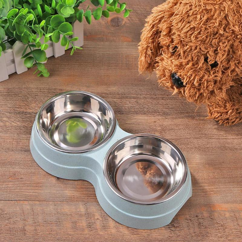 Dog Double Bowl Puppy Food Water Feeder Cute Stainless Steel Pets Drinking Dish Feeder Pets Supplies Feeding Dishes Dogs Bowl