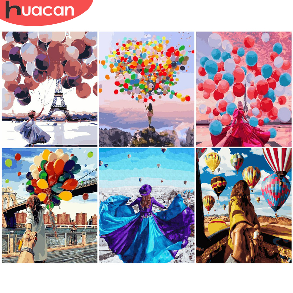 HUACAN Painting By Numbers Girl Drawing On Canvas HandPainted Gift Picture By Number Figure Scenery Kits Home Decoration