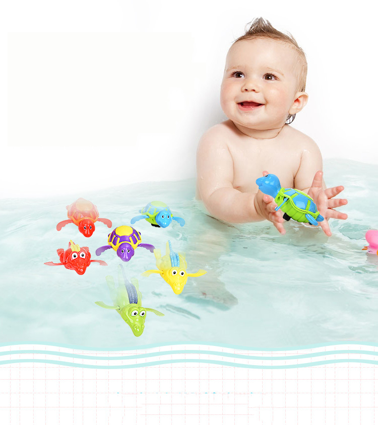 1 New Baby Swimming Bath Floating Clockwork Paddling Toys Cute Colorful Animal Shape Design Exercise Hand Eye Parent-child Happy