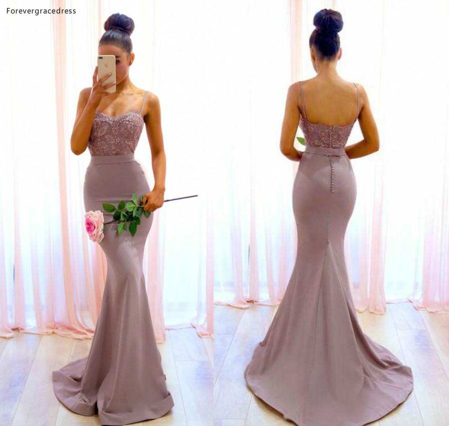 New Arrival Backless Bridesmaid Dress Lace Applique Garden Country Formal Wedding Party Guest Maid Of Honor Gown Plus Size