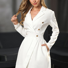 Blazer Women Long Sleeve Runway Designer Fashion Elegant Office Ladies Frocks Dress Suit Jacket White Casual Party Dresses(China)