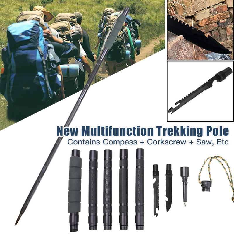 3 Style Multifunctional Trekking Pole  For Outdoor Camping Hiking Walking Sticks Anti Shock Hiking Stick Outdoor Survival Tool