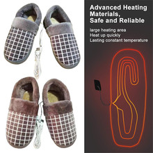 Foot-Warmer Plush-Slippers Heated-Shoes for Winter Keep-Feet Rechageable USB Comfortable