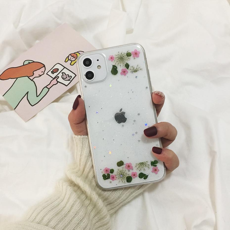 Qianliyao настоящие сушеные цветы прозрачный, мягкий чехол для iphone X 6 6S 7 8 Plus 11 Pro Max чехол для телефона для iphone XR XS Max чехол - Цвет: 5