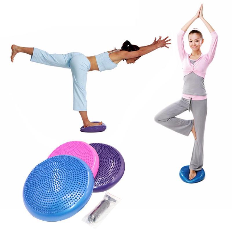 PVC Inflatable Yoga Balancing Ball Pad Training Cushion Stability Exercise Point Massage Mat Ball
