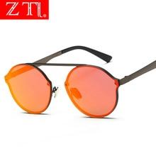 ZT Retro Women Rimless Round Sunglasses Brand Designer Fashion Men Red Reflective Coating Mirror Eyewear UV400