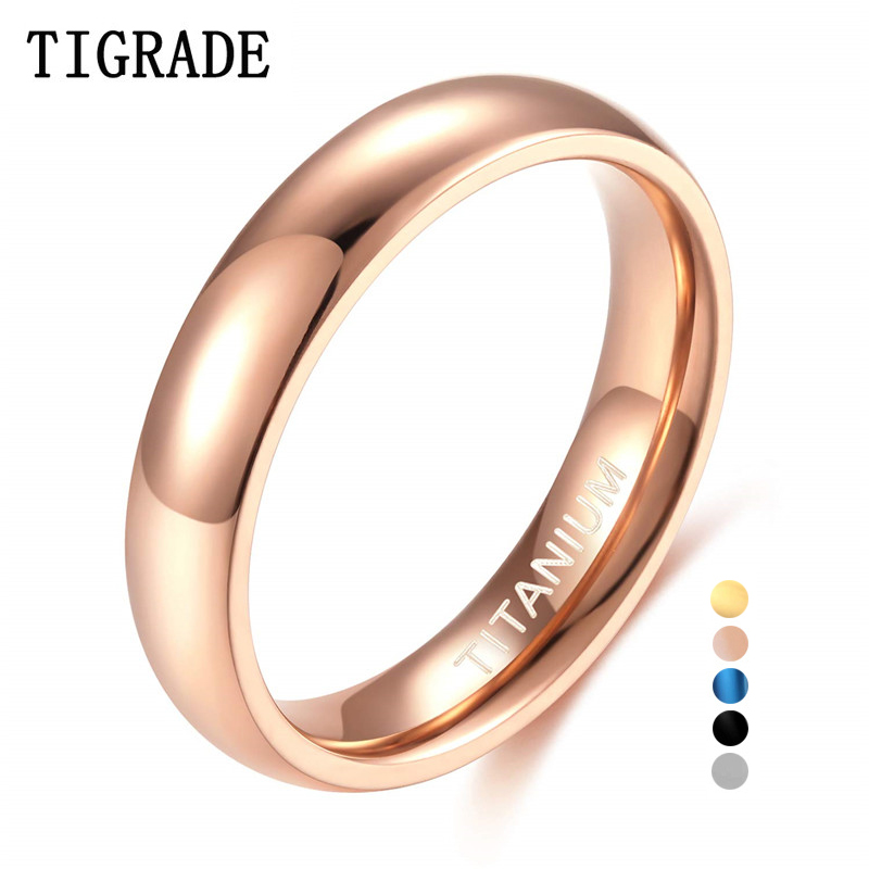 Tigrade Rose-Gold-Ring Classic Ring Wedding-Band Female Provide-Size Titanium Unisex title=