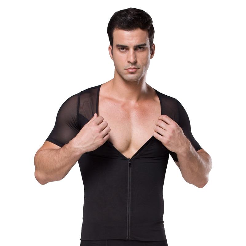 HaleyChan Gynecomastia Men Shapewear Zip Chest Binder Tummy Control Top 180G Mesh Zipper N Hooks Body Shaper Short Sleeve Shirt