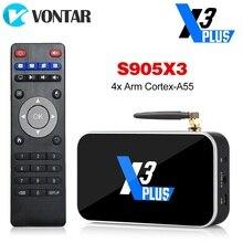 X3 زائد صندوق التلفزيون أندرويد 9.0 مربع التلفزيون الذكية S905X3 DDR4 RAM 4GB 64GB 2.4G/5G واي فاي 1000M بلوتوث 4.2 مجموعة صندوق فوقي 4K HD