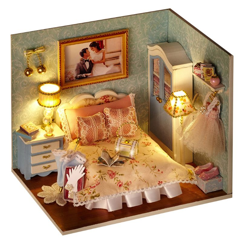 Children Handmade DIY Cottage Happy Family Small World Educational Toys Puzzle Model Birthday Gift for Boys Girls E65D in Puzzles from Toys Hobbies