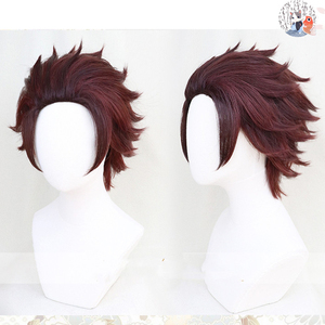 Demon Slayer: Kimetsu no Yaiba Kamado Tanjirou Short Chestnut Brown 28cm Heat Resistant Hair Cosplay Costume Wig + Wig Cap(China)