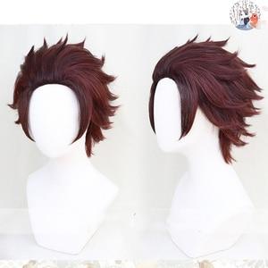 Demon Slayer: Kimetsu no Yaiba Kamado Tanjirou Short Chestnut Brown 28cm Heat Resistant Hair Cosplay Costume Wig + Wig Cap(China)