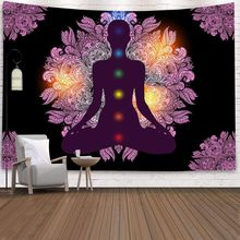 Buddha Indian Mandala Printed Wall Hanging Tapestry Hippie Boho Psychedelic Tapestry Wall Hanging Yoga Mat Carpet Home Decor cityscape printed mandala tapestry wall hanging home bed decor hippie polyester letter motto tapestry beach throw towel yoga mat