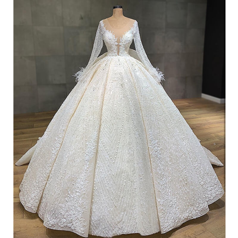 Vestidos De Novia Illusion Long Sleeve Ball Gown Wedding Dress Luxury Beading Appliques Wedding Gowns Ruffles Back Bride Dress