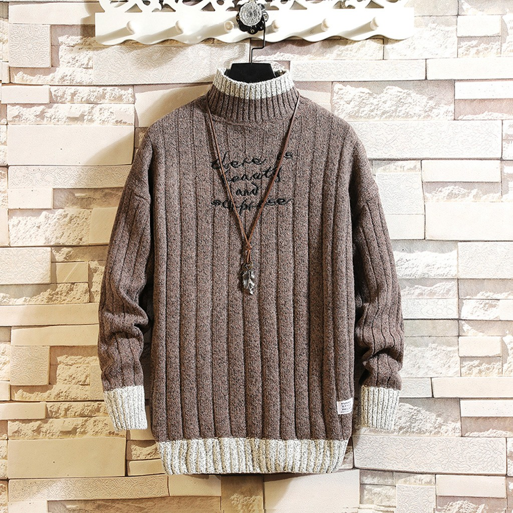 Men's Casual Fashion Printing Patchwork Sweater O-Neck Long Sleeve Knitted Sweater Stylish Popular Sport Sweater