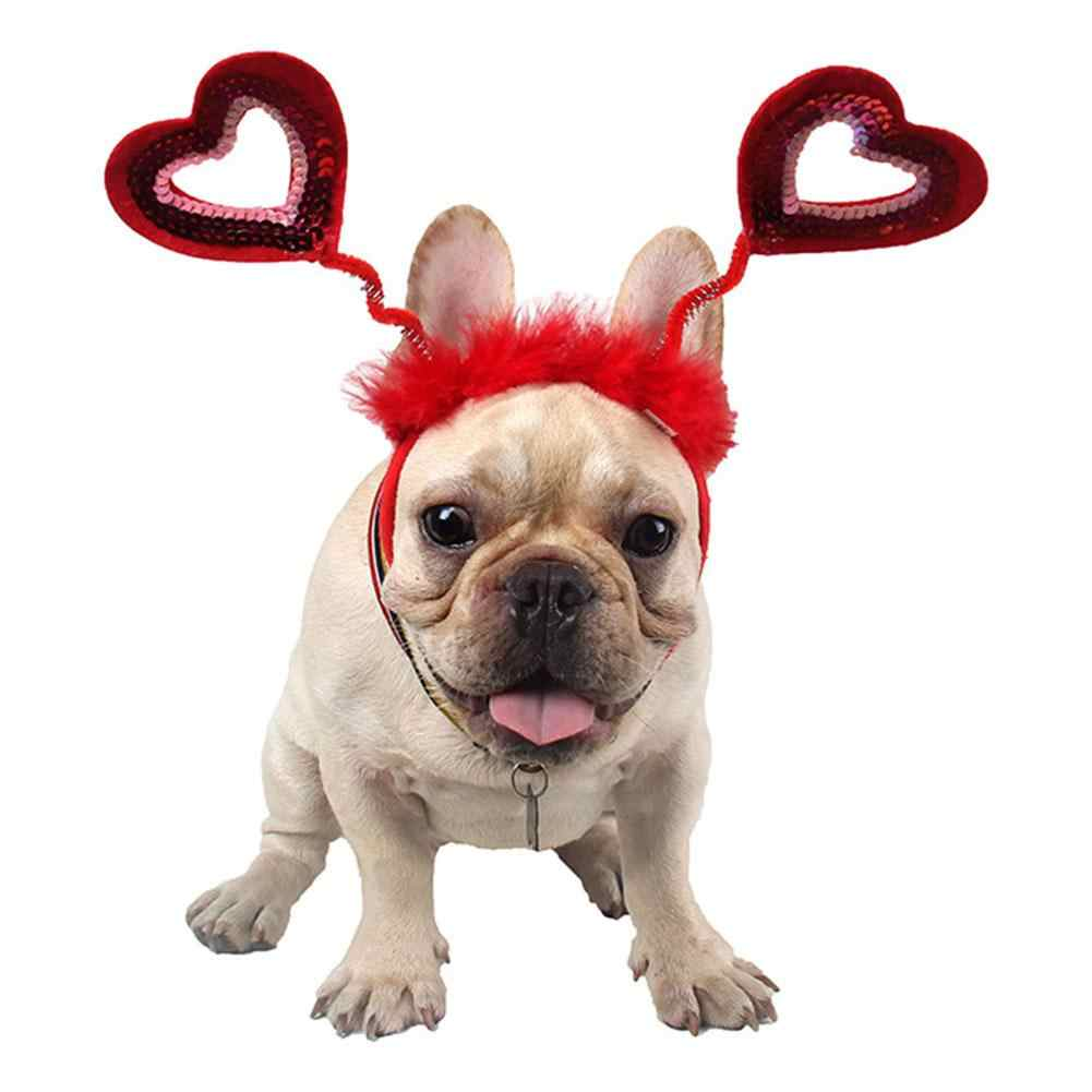 Nieuwe Halloween Huisdier Kostuum Hoofdband Kerst Hond Hoofddeksels Hart-Vorm Hoofdbanden Valentijnsdag Hond Kat Cosplay Party Dress up