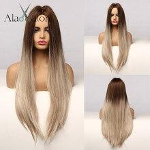 Ash-Wigs Synthetic-Hair Gray Brown Cosplay Straight Natural Alan Eaton Long Black Women