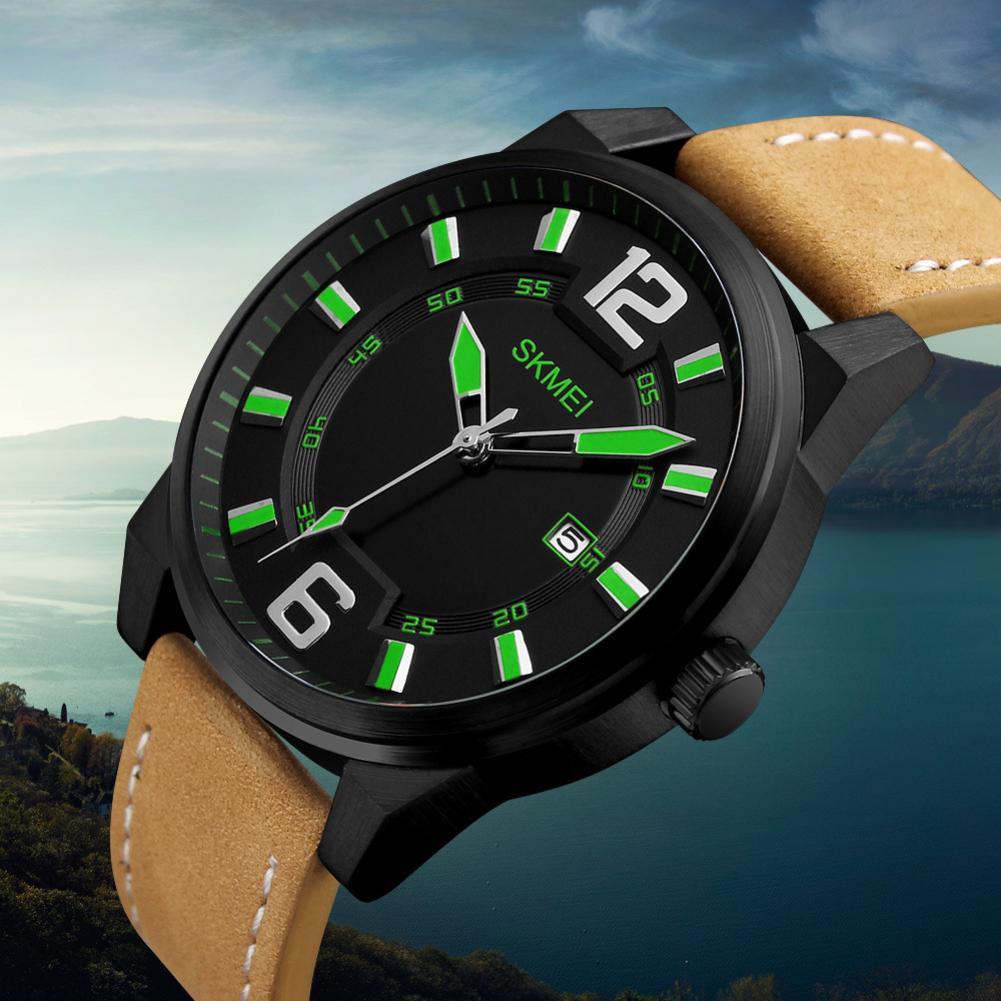 Military Men Faux Leather Band Date Round Dial Waterproof Quartz Wrist Watch Mas-culino Fashion Men's Watch Large Dial Militarys