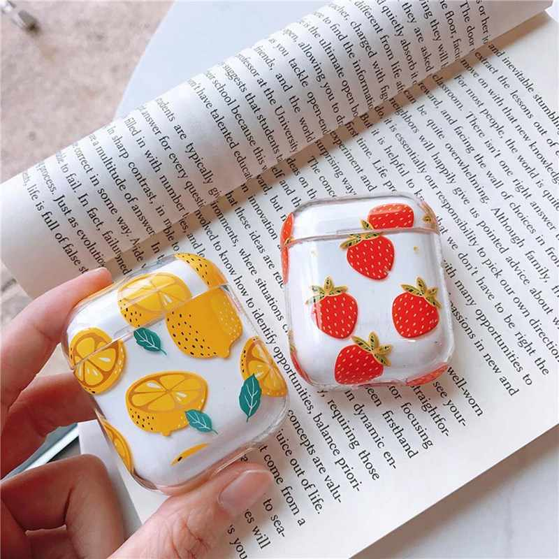 Summer fruit Cherry Peach Earphone Headset Accessories PC Transparent case For Apple Airpods 1/2 Wireless Bluetooth Headset bags