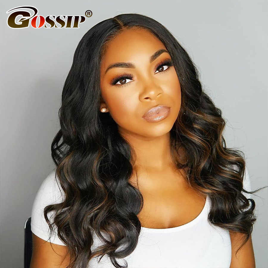"6"" Gossip 360 Lace Frontal Wig Malaysian Body Wave 180% Density 360 Lace Wigs For Women Remy Human Hair 360 Frontal Black Wig"