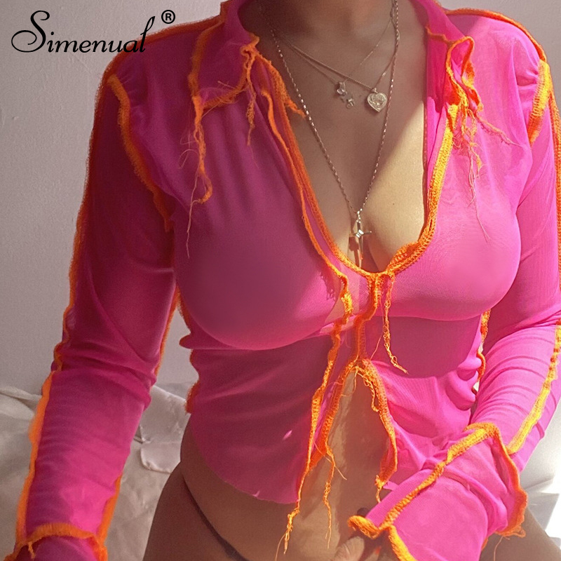 Simenual Mesh Sehen Durch Neon Rosa Frauen Crop Tops Langarm Sexy Hot Patchwork T Shirts V-ausschnitt Party Club mode 2020 Tees