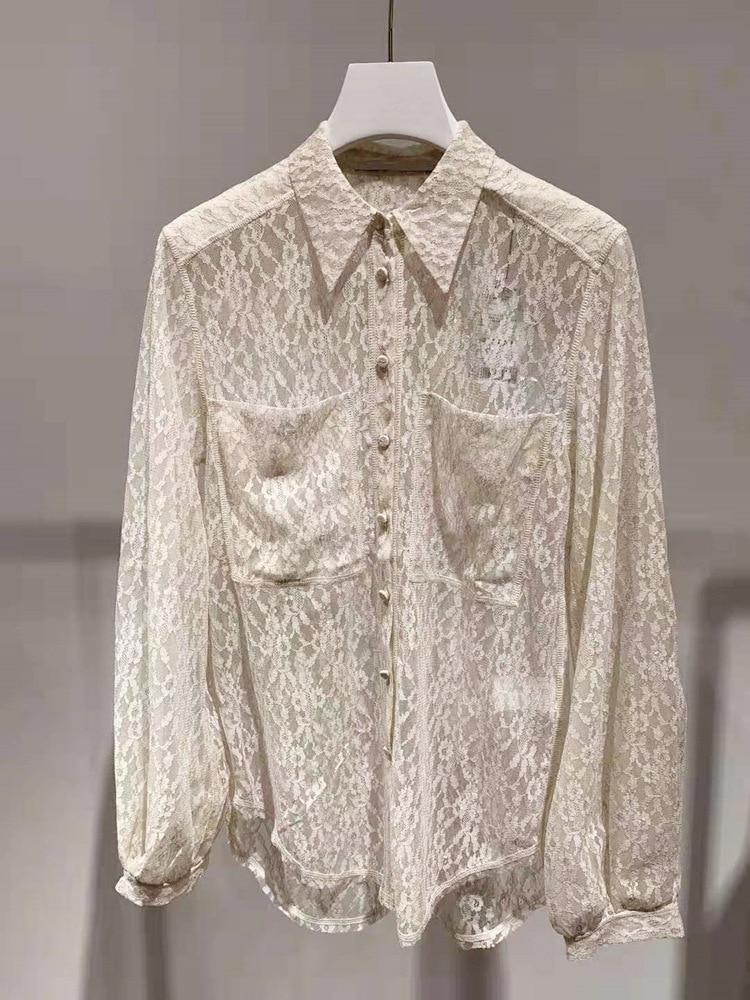 New arrival women's lace Shirts 2019 Autumn women hollow out Shirt A797