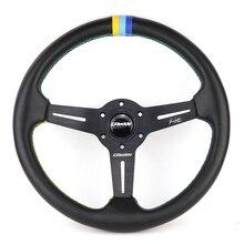 GPP 14 дюймов подлинное рулевое колесо с кожаной оплеткой с 3 цветными строчками