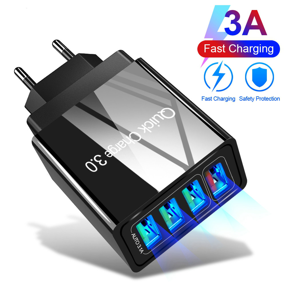 48W Quick Charge <font><b>4</b></font>.0 3.0 <font><b>4</b></font> <font><b>Port</b></font> <font><b>USB</b></font> Charger <font><b>USB</b></font> Fast Charger QC4.0 <font><b>QC3.0</b></font> For Samsung S10 A50 Xiaomi Mi9 iPhone X 7 Wall Adapter image