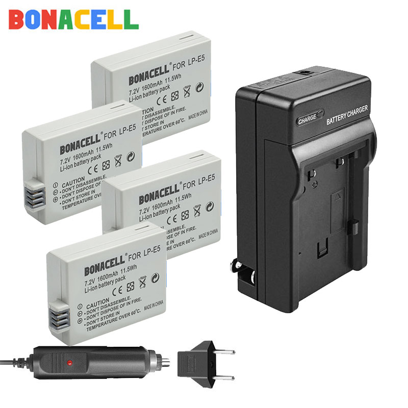 Bonacell 1600mAh LP-E5 Digital Li-ion Battery + Charger For Canon Rebel XS XSi 450D 500D 1000D Kiss X3 Camera image