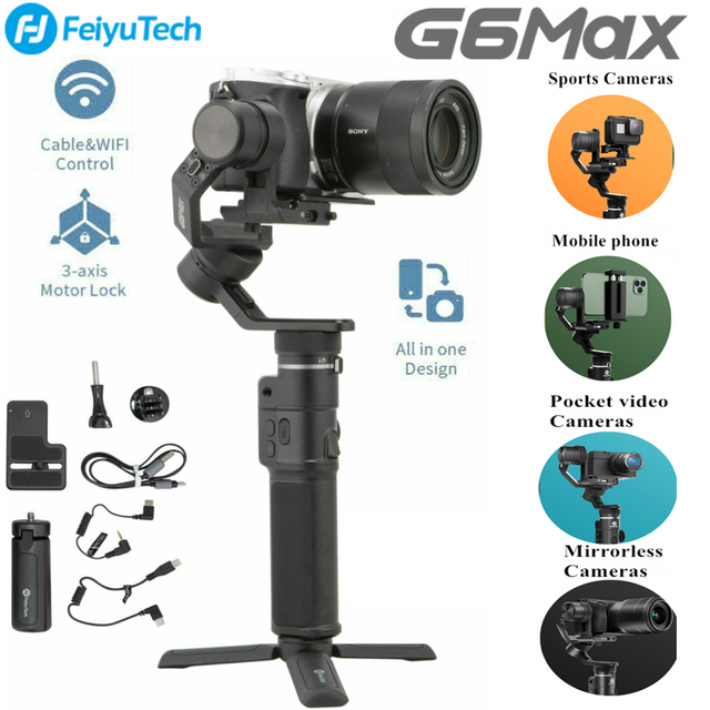 FeiyuTech G6 Max 3 osi kardana ręczna stabilizator (G6 Plus Upgrade Ver) do kamery bez lusterek forLike krótkiego obiektywu, kamera akcji