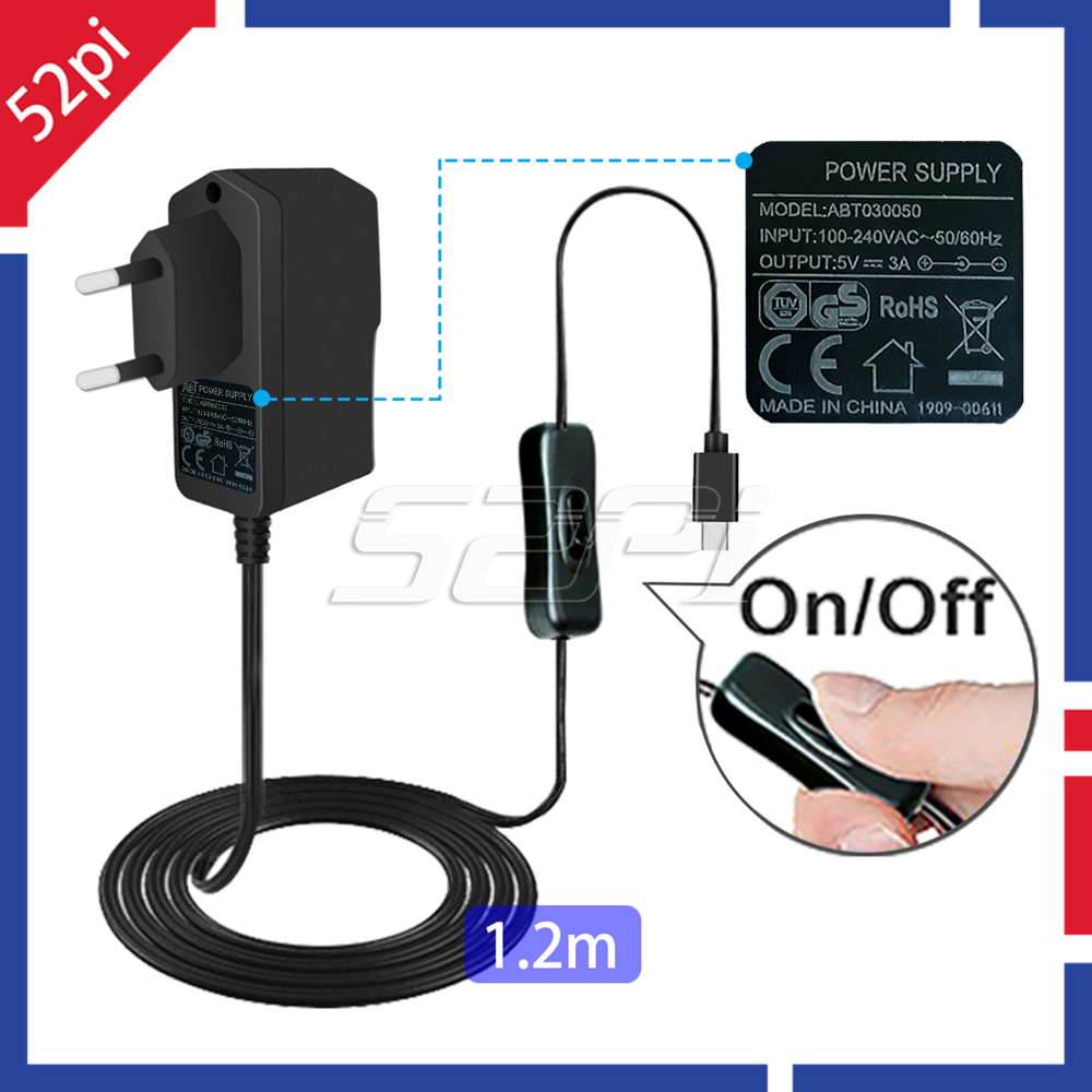 52Pi 5V 3A Power Supply Adapter With Switch-on/off Cable EU / US / UK Plug Charger Cable For Raspberry Pi 4B / 3B / 3B+, 3B Plus