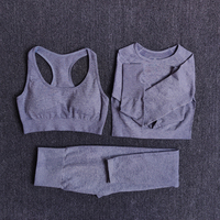 3pcsSetGray - Women Seamless Yoga Set Fitness Sports Suits