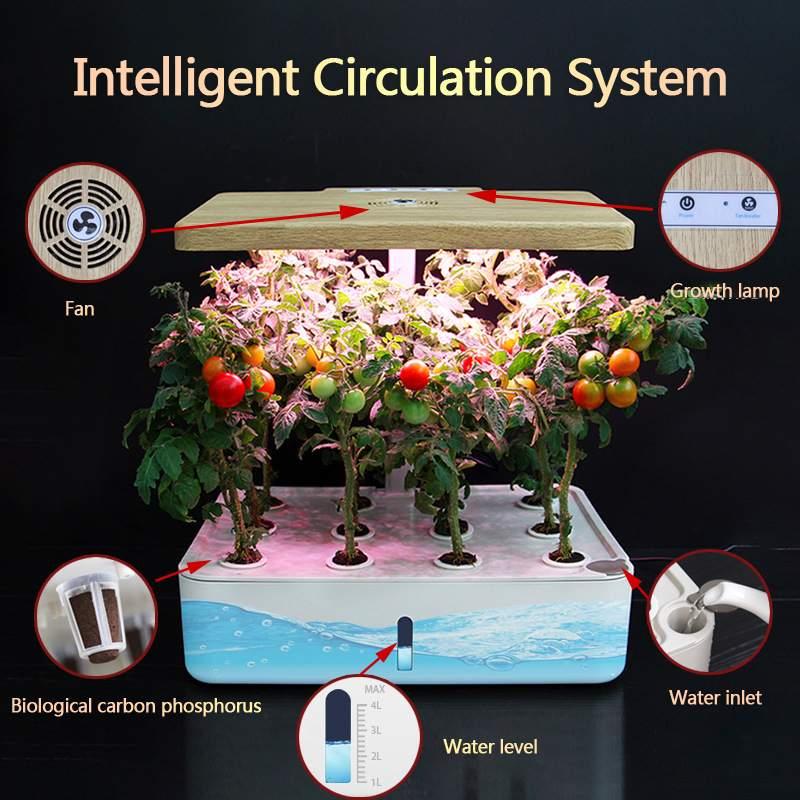Boîte de système hydroponique intelligente spectre complet cultiver la culture hors sol légère planteur de jardin intérieur cultiver des Pots de pépinière de lampe