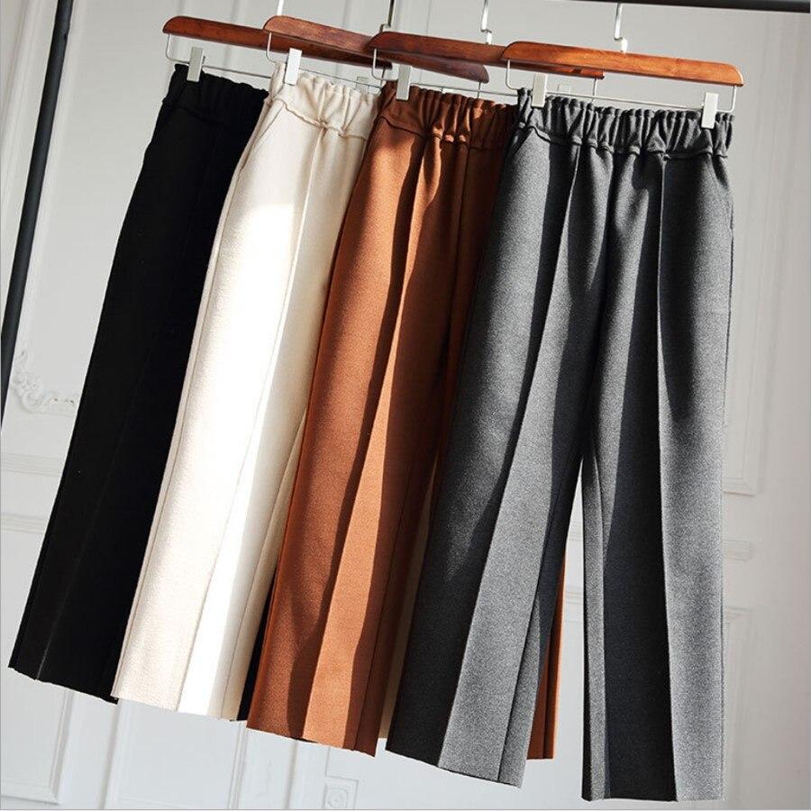 Woolen   Wide     Leg     Pants   Women Autumn Winter Korean High Waist Casual Straight   Pants   Thickening Loose Wool   Pants   Warm Trousers