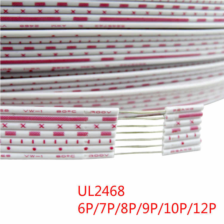 UL2468 Flat Ribbon Cable Wire 24AWG 26AWG Red-White Blue-White 6P 8P 9P 10P 12P