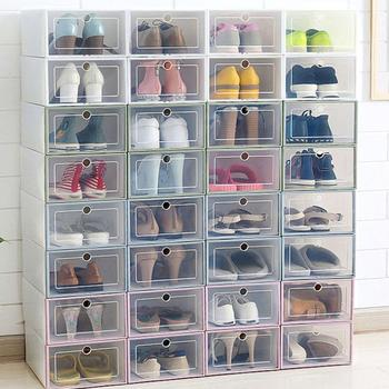 Transparent shoe box storage boxes Case thickened dustproof organizer can be superimposed combination cabinet