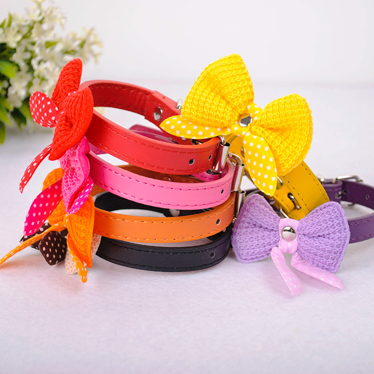 Pet Yarn Bow Neck Ring Cat Collar Dog Collar Small Dogs And Cats Neck Ring Multi-color Selectable