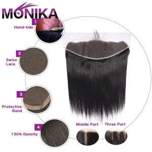 Image 4 - Monika Hair Frontals Peruvian Straight Frontal Human Hair Lace Frontal Closure 13x4 Ear To Ear Lace Closure Frontal Non RemyHair