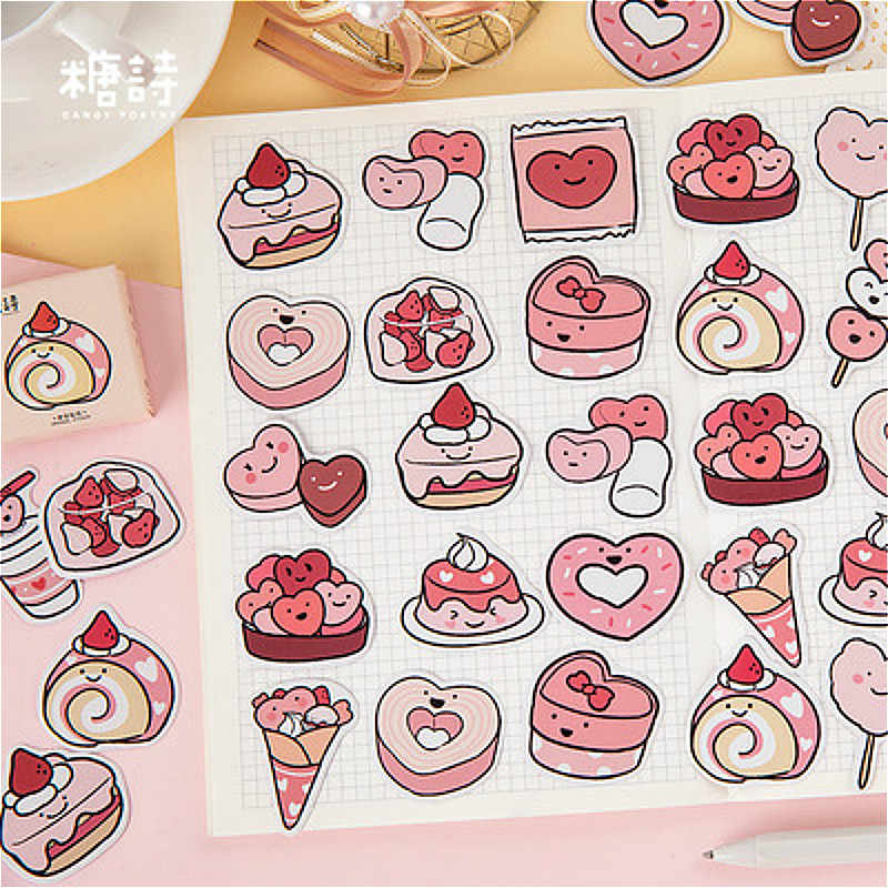 45PCS Del Fumetto Dolce Cibo Cancelleria Autoadesivo di Carta Della Decorazione Della Decalcomania Scrapbooking Sticker Kawaii di Cancelleria Regalo Materiale Escol
