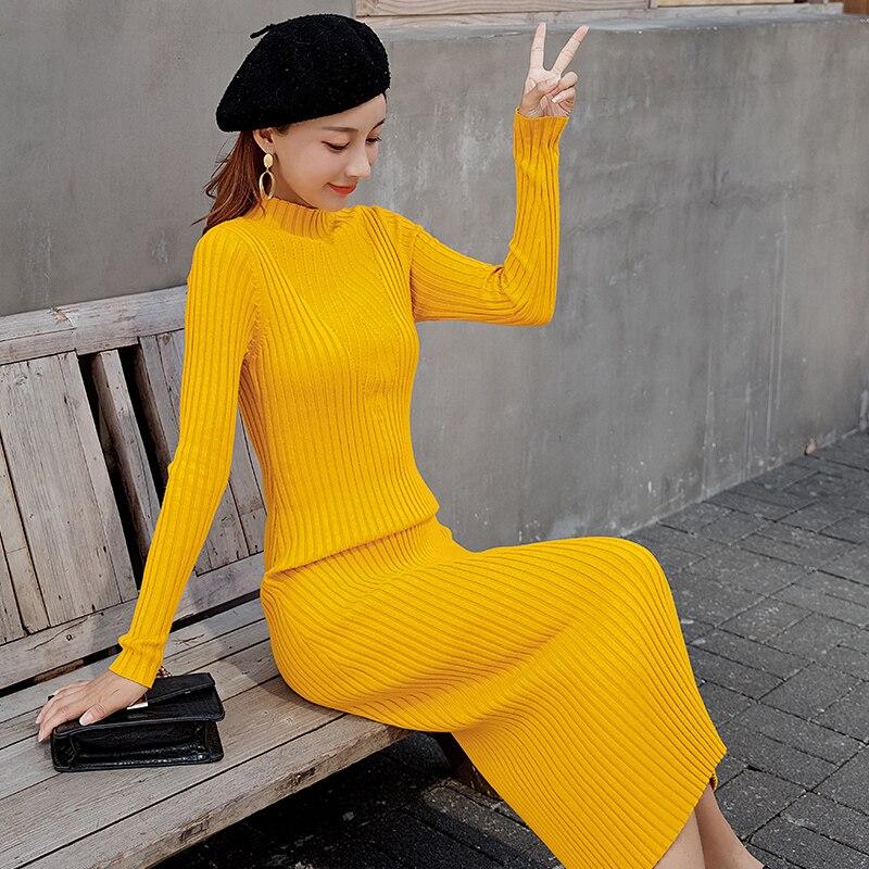 2019 femmes élégantes nouveau à manches longues col montant solide mince longue robe décontracté crochet fleur extensible moulante paquet hanche robe mi-longue