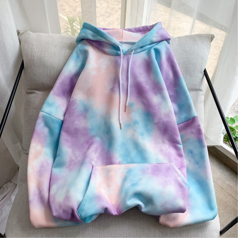 Hip Hop Hoodies Men's Fashion Printing Tie Dyed Casual Hooded Sweatshirt Men Streetwear Wild Loose Camo Hoodie Mens Hoody M-2XL