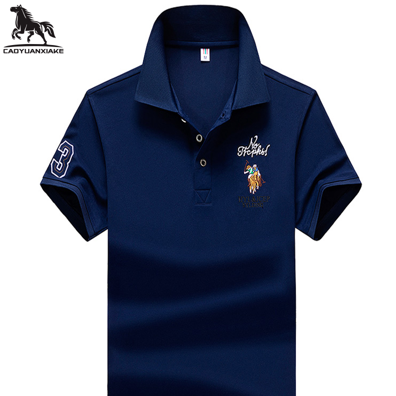 Summer New Men Polo Shirt High-quality Mens Lapel Solid Color Breathable Short Sleeve Embroidered Business Casual Polo Shirt 733