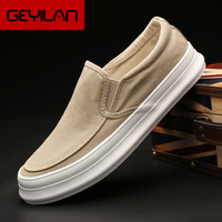 Monstceler Brand Men's Canvas Sneakers Casual Shoes Spring/autumn Solid Slip on Thick Bottom Flat Mens Luxury Vulcanized Shoe