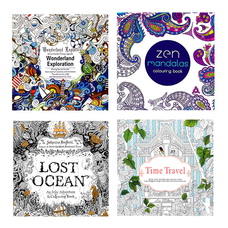4 Pcs 24 Pages Mandalas English Edition Coloring Book For Adults Kids Relieve Stress Kill Time Painting Drawing Books