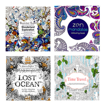 Coloring-Book Mandalas Painting for Adults Kids Relieve-Stress Kill-Time 4pcs 24-Pages