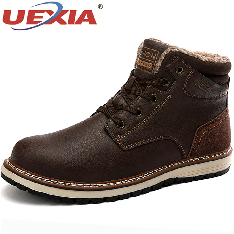 UEXIA Fashion Handmade Winter Super Warm Men's Shoes Fur Plush Snow Ankle Boot Waterproof Leather Outdoor Work Men Western Boots