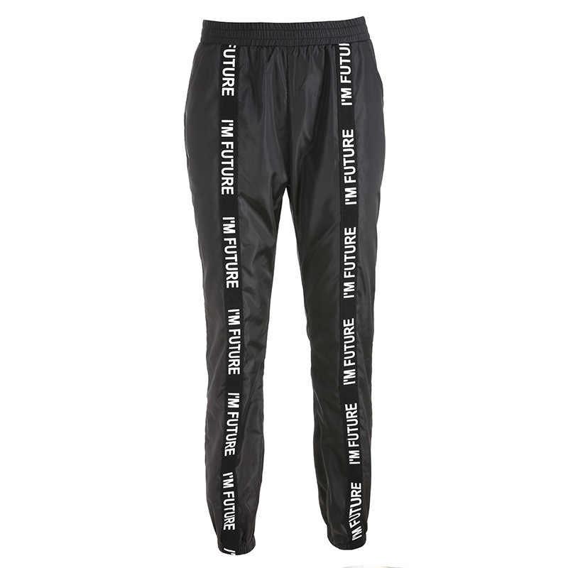 HOUZHOU harem pantolon pantolon kadın tam boy gevşek Jogger Mujer spor elastik bel siyah rahat savaş Streetwear moda